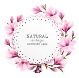 Natural vintage greeting card with pink magnolia. Stock Photography