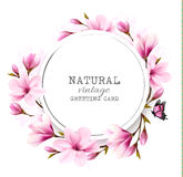 Natural vintage greeting card with pink magnolia. Stock Photo