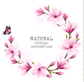 Natural vintage greeting card with pink magnolia. Vector Stock Image