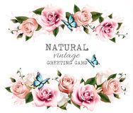 Natural vintage greeting card with roses. Stock Photography