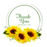 Natural vintage greeting card with yellow sunflowers. Vector Royalty Free Stock Photos