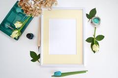 Natural vintage mock up, white paper frame. Stock Images