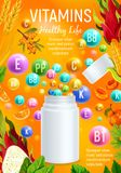 Vitamin and mineral for healthy life banner design Royalty Free Stock Photography