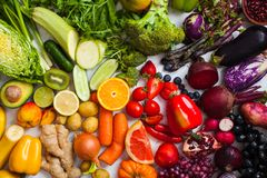 Free Natural Vitamins And Antioxidants Food Rainbow Top View. Royalty Free Stock Image - 160186866