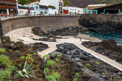 Natural volcanic pools visited by tourists in Garachico, Tenerife Island, Canary, Stock Image