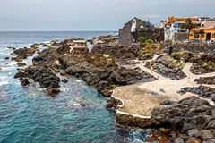 Natural volcanic pools visited by tourists in Garachico, Tenerife Island, Canary, Stock Photo