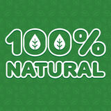 100% natural. Volumetric sticker 100% natural» ecological direction on the background pattern of leaves. Vector illustration. Ideal to use for labeling of Royalty Free Stock Images