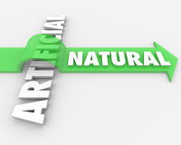Natural vs Unnatural Real Against Fake Arrow Words Stock Image