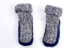 Natural warm knitted socks for kids. stock photo