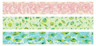 Natural washi paper tape set seamless pattern. This illustration is design WaShi paper tape with natural background and 10 cm measure ruler in seamless pattern Royalty Free Stock Photos