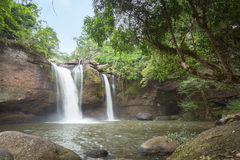 Natural water fall flare in the forest mountain. Stock Photography