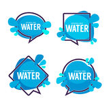 Natural water, vector logo, labels and stickers templates with a. Qua drops Royalty Free Stock Photos