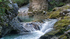 Natural waterfall in alps Royalty Free Stock Photos