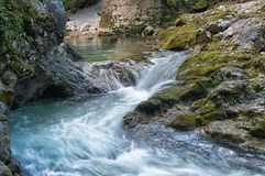 Natural waterfall in alps Royalty Free Stock Photo