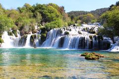 Natural waterfall in Balkans. During spring royalty free stock photography