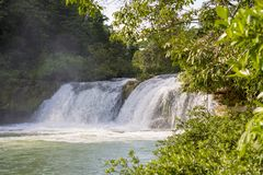 Waterfall In Rio Blanco National Park Belize. Natural waterfall in Rio Blanco National Park in Toledo Belize royalty free stock images
