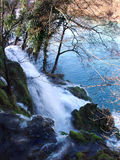 Natural waterfall of a river. Named Vrelo (A Year) which flows into the Drina river in Serbia royalty free stock photo