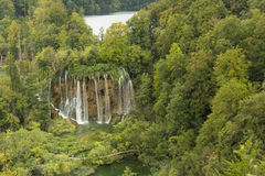 Natural waterfalls in Plitvice Lake National Park. Big wall of waterfalls located in Plitvice National Park, Croatia Stock Images
