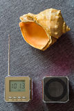 Natural wave. Portable radio receiver,mp3 player and Seashell. Music. Photo serie with Headphones Royalty Free Stock Photo