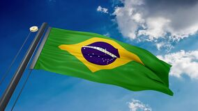 A natural waving flag of Brazil