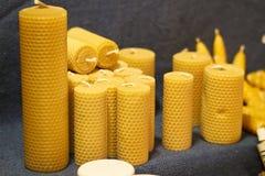 Natural wax candles Stock Photo