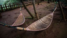 Natural weave hammock in forest. Natural weave hammock under the tree hanging in forest Stock Photos