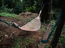 Natural weave hammock in forest. Natural weave hammock under the tree hanging in forest Stock Photography
