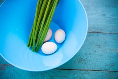 Natural white eggs in a blue bowl Stock Photos