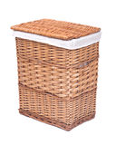 Natural wicker laundry basket. Isolated on white background stock photo
