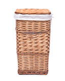 Natural wicker laundry basket. Isolated on white background stock photography