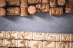 Natural wine corks, vinery background.  Royalty Free Stock Images