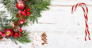 Natural winter background with christmas decoration Royalty Free Stock Photos