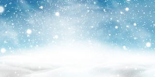 Natural Winter Christmas background with blue sky, heavy snowfall, snowflakes in different shapes and forms, snowdrifts. Winter landscape with falling royalty free illustration