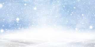 Natural Winter Christmas background with blue sky, heavy snowfall, snowflakes in different shapes and forms, snowdrifts. Winter landscape with falling stock illustration