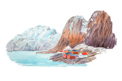 Natural winter landscape mountains and lake watercolor illustration Royalty Free Stock Photo