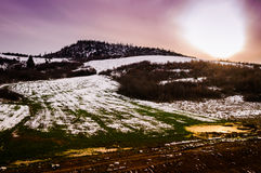 Natural Winter Landscape Under The Sun Royalty Free Stock Photography