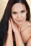Natural woman. Beautiful brunette woman with natural make-up Royalty Free Stock Images