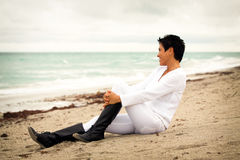 Natural woman at beach Royalty Free Stock Images