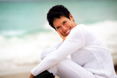 Natural woman at beach Stock Images