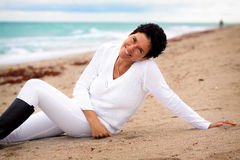 Natural woman at beach Stock Photo