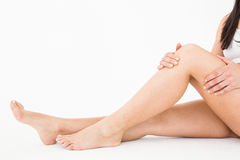 Natural woman with knee pain Royalty Free Stock Photo
