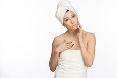 Natural women in white towels. stock images