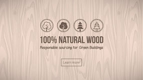 Natural wood. Banner with textured background and icons set Royalty Free Stock Photo