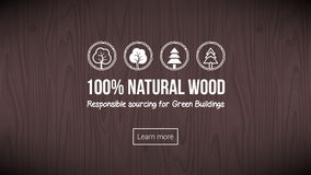 Natural wood. Banner with textured background and icons set Royalty Free Stock Image