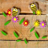 Natural wood and bees Royalty Free Stock Images