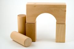 Natural wood blocks. Natural, not colored, wooden blocks, toys stock photography