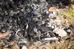 Natural wood charcoal biomass for energy stock photos