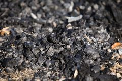 Natural wood charcoal biomass for energy stock photography