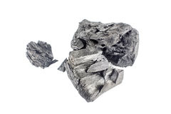 Natural wood charcoal isolated on white background. Stock Image