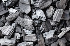 Natural wood charcoal. Natural wood charcoal, traditional charcoal or hardwood charcoal, top view royalty free stock image